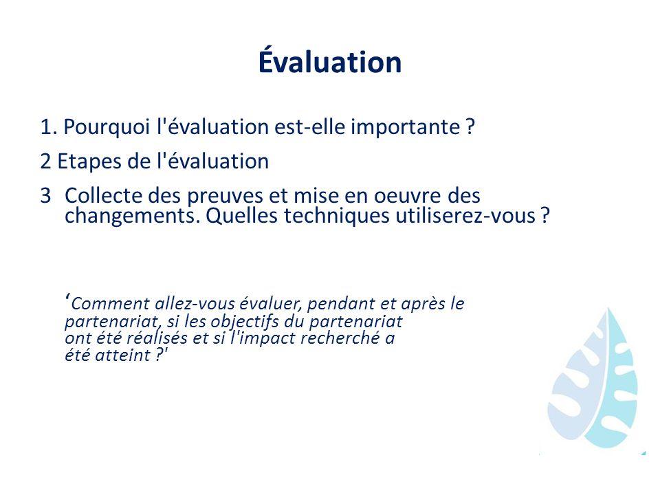 Évaluation 1. Pourquoi l'évaluation est-elle importante ? 2 Etapes de l'évaluation 3Collecte des preuves et mise en oeuvre des changements. Quelles te