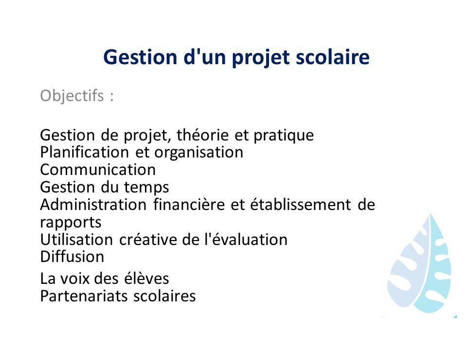 Gestion d'un projet scolaire Objectifs : Gestion de projet, théorie et pratique Planification et organisation Communication Gestion du temps Administr