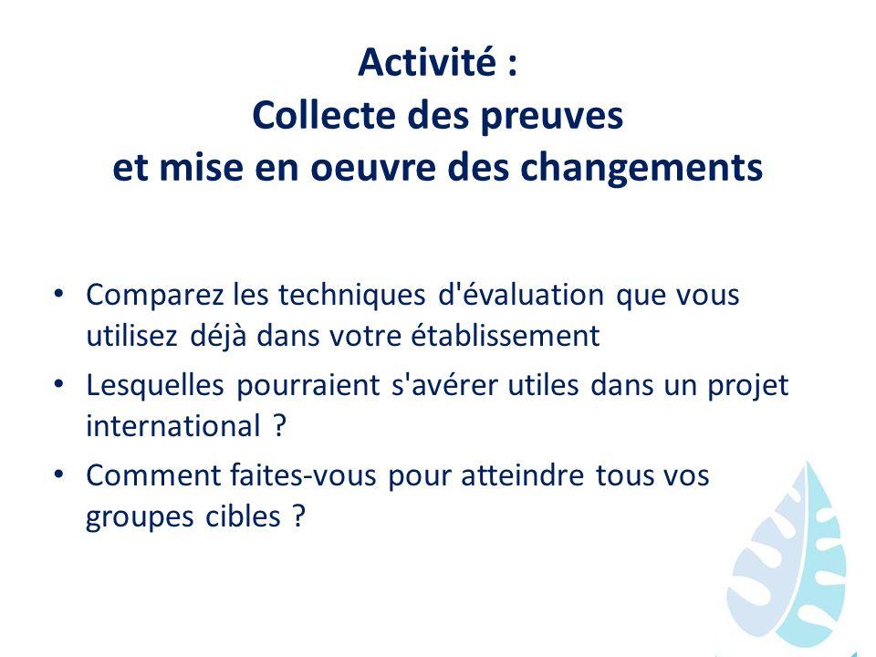 Activité : Collecte des preuves et mise en oeuvre des changements Comparez les techniques d'évaluation que vous utilisez déjà dans votre établissement