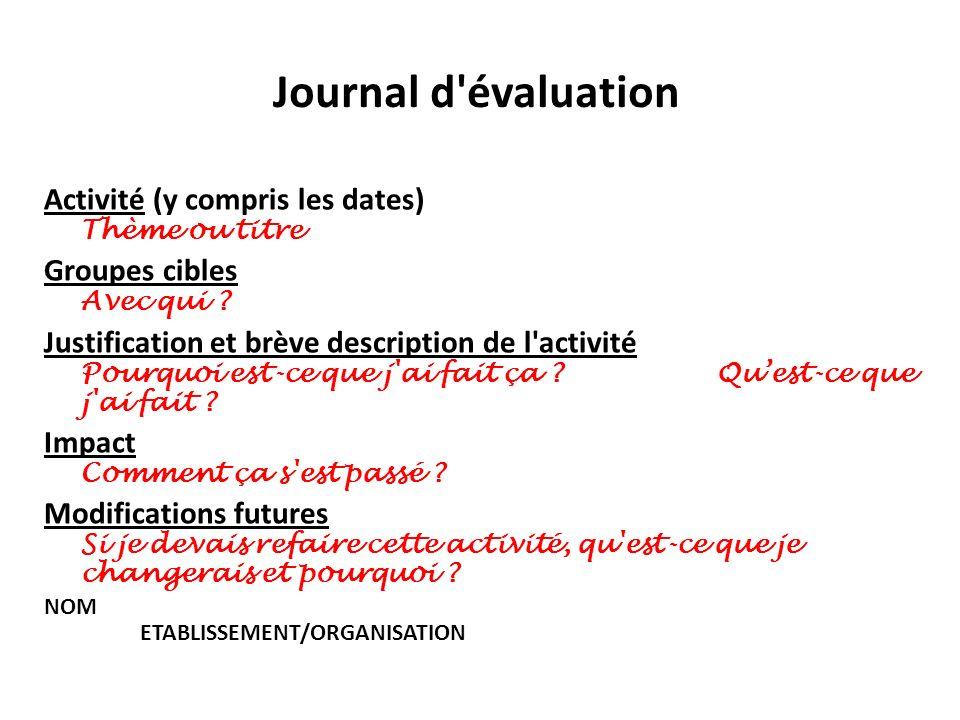 Journal d'évaluation Activité (y compris les dates) Thème ou titre Groupes cibles Avec qui ? Justification et brève description de l'activité Pourquoi