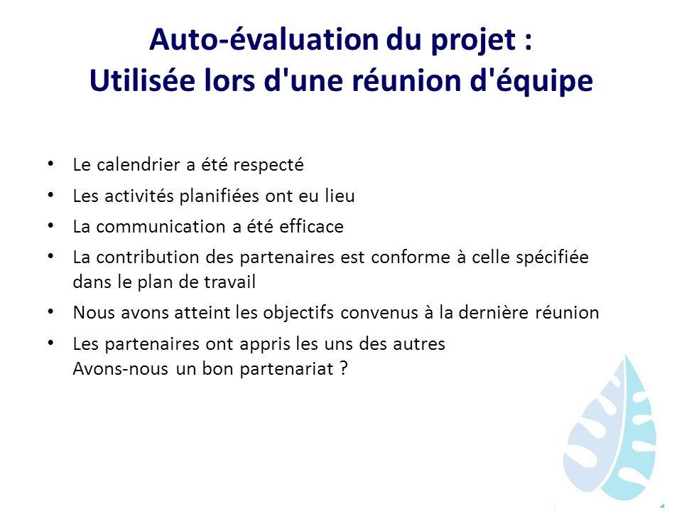 Auto-évaluation du projet : Utilisée lors d'une réunion d'équipe Le calendrier a été respecté Les activités planifiées ont eu lieu La communication a