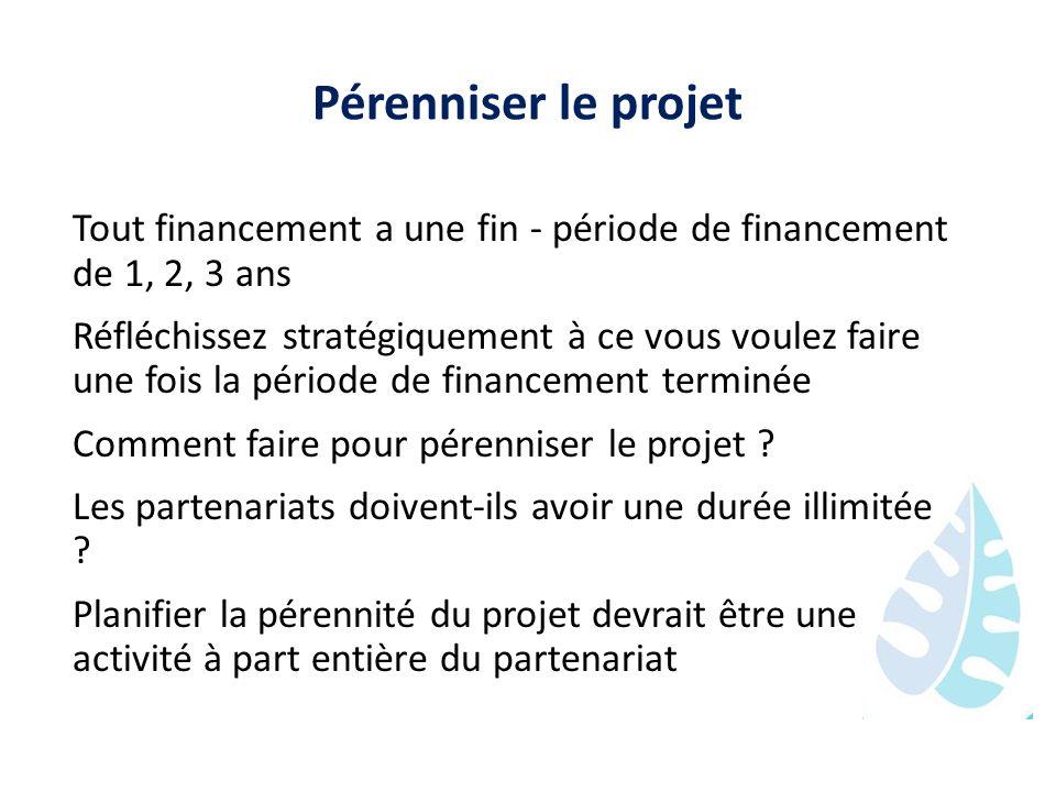 Pérenniser le projet Tout financement a une fin - période de financement de 1, 2, 3 ans Réfléchissez stratégiquement à ce vous voulez faire une fois l