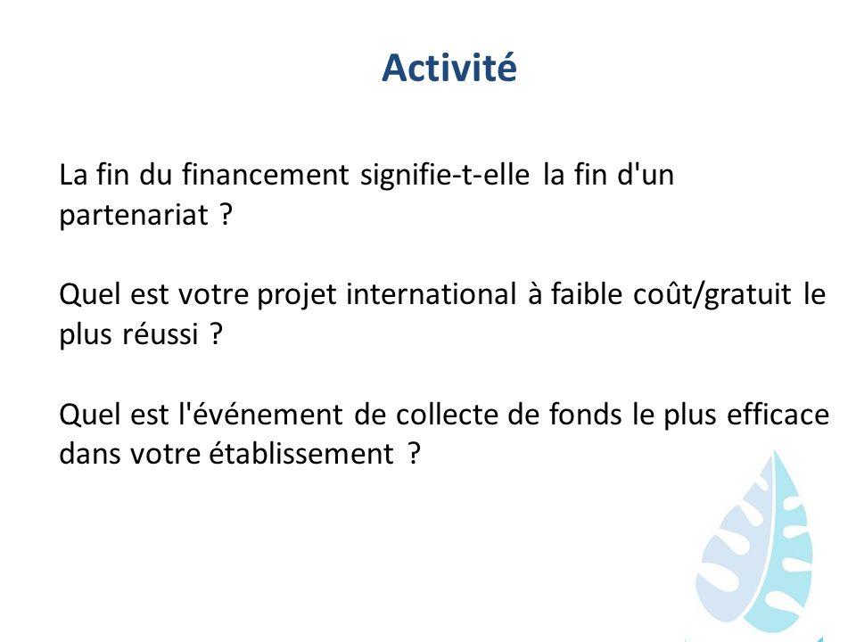 Activité La fin du financement signifie-t-elle la fin d'un partenariat ? Quel est votre projet international à faible coût/gratuit le plus réussi ? Qu