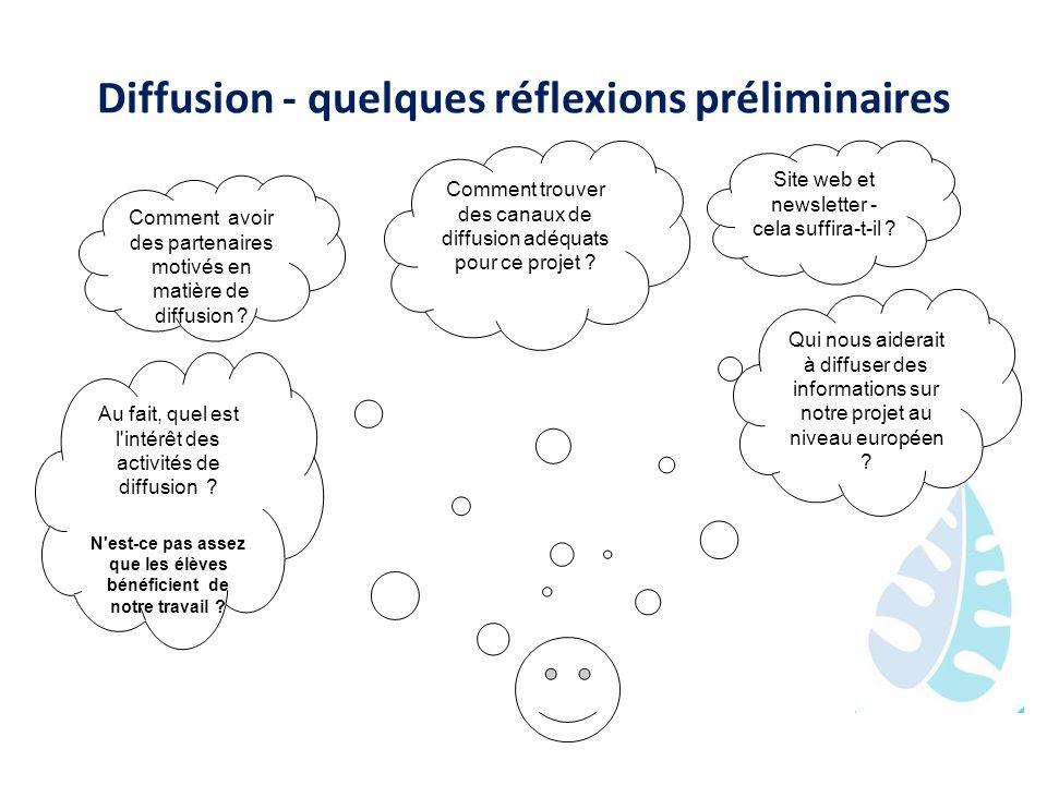 Diffusion - quelques réflexions préliminaires Comment avoir des partenaires motivés en matière de diffusion ? Comment trouver des canaux de diffusion