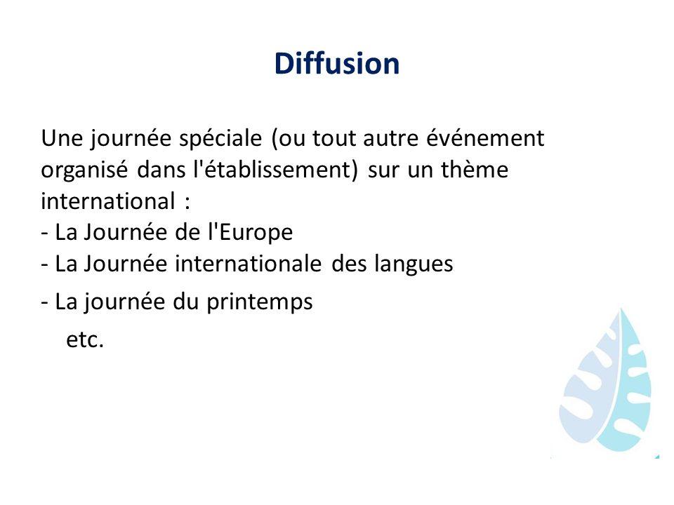 Diffusion Une journée spéciale (ou tout autre événement organisé dans l'établissement) sur un thème international : - La Journée de l'Europe - La Jour