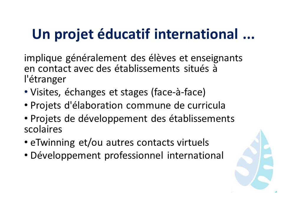 Un projet éducatif international... implique généralement des élèves et enseignants en contact avec des établissements situés à l'étranger Visites, éc