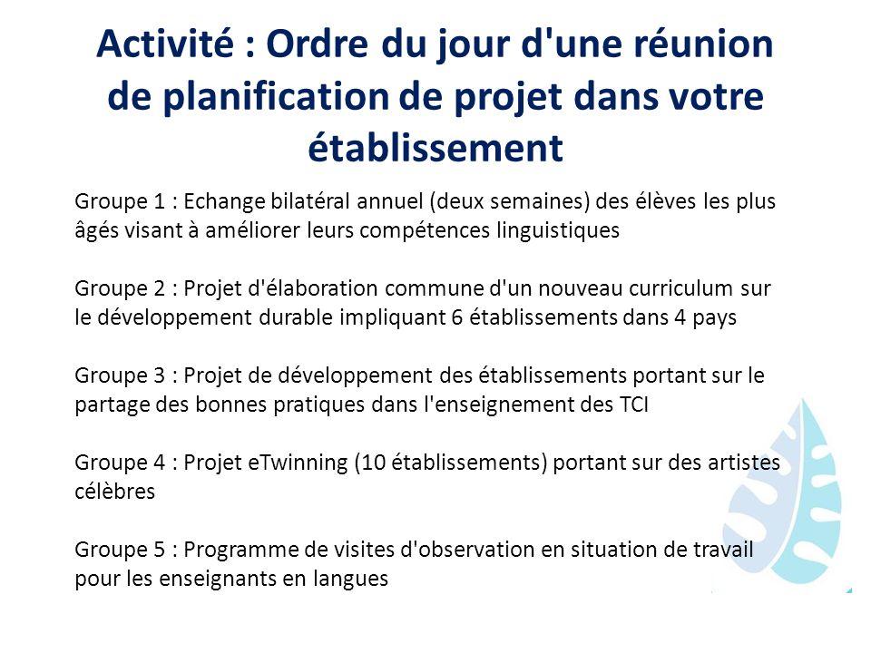 Activité : Ordre du jour d'une réunion de planification de projet dans votre établissement Groupe 1 : Echange bilatéral annuel (deux semaines) des élè