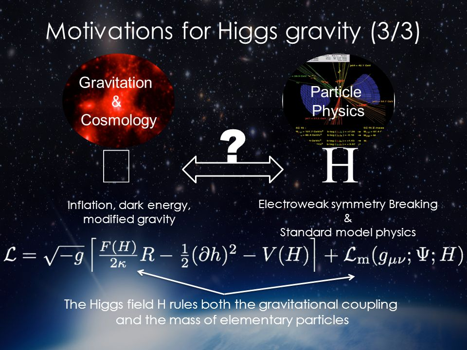 Motivations for Higgs gravity (3/3) Gravitation & Cosmology Particle Physics Inflation, dark energy, modified gravity Electroweak symmetry Breaking & Standard model physics .