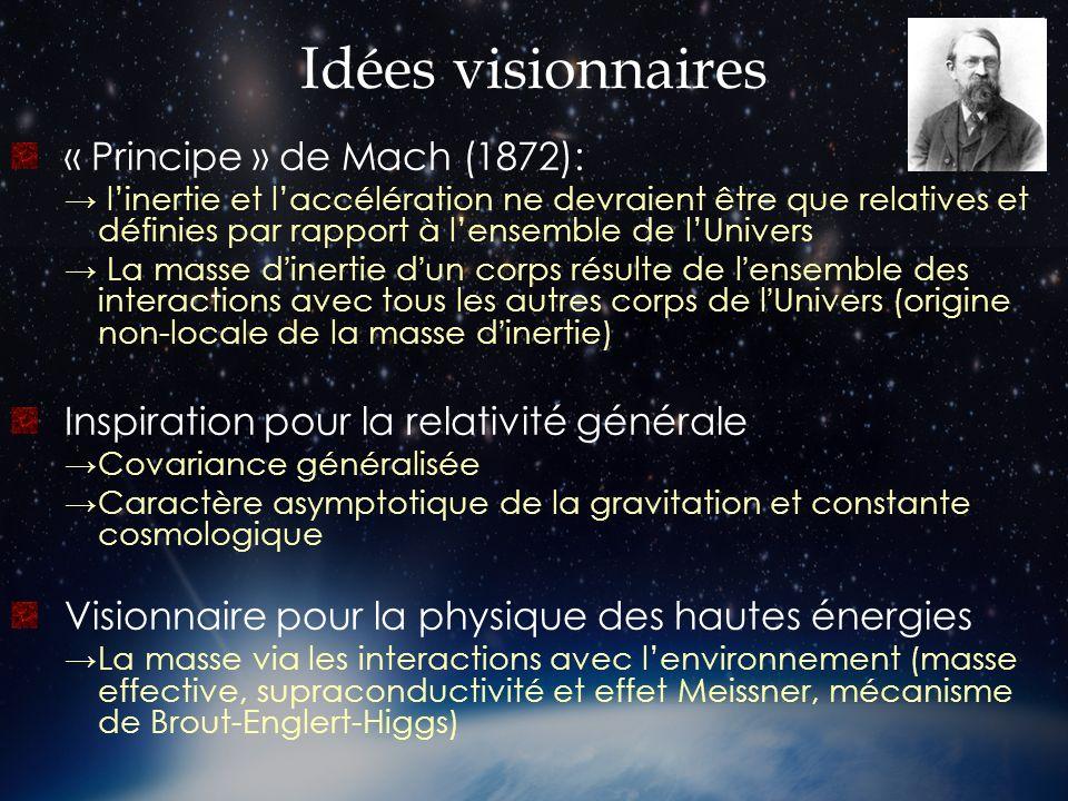 Idées visionnaires « Principe » de Mach (1872): linertie et laccélération ne devraient être que relatives et définies par rapport à lensemble de lUniv
