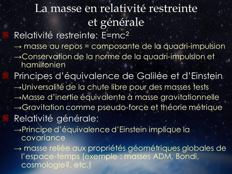 La masse en relativité restreinte et générale Relativité restreinte: E=mc 2 masse au repos = composante de la quadri-impulsion Conservation de la norm