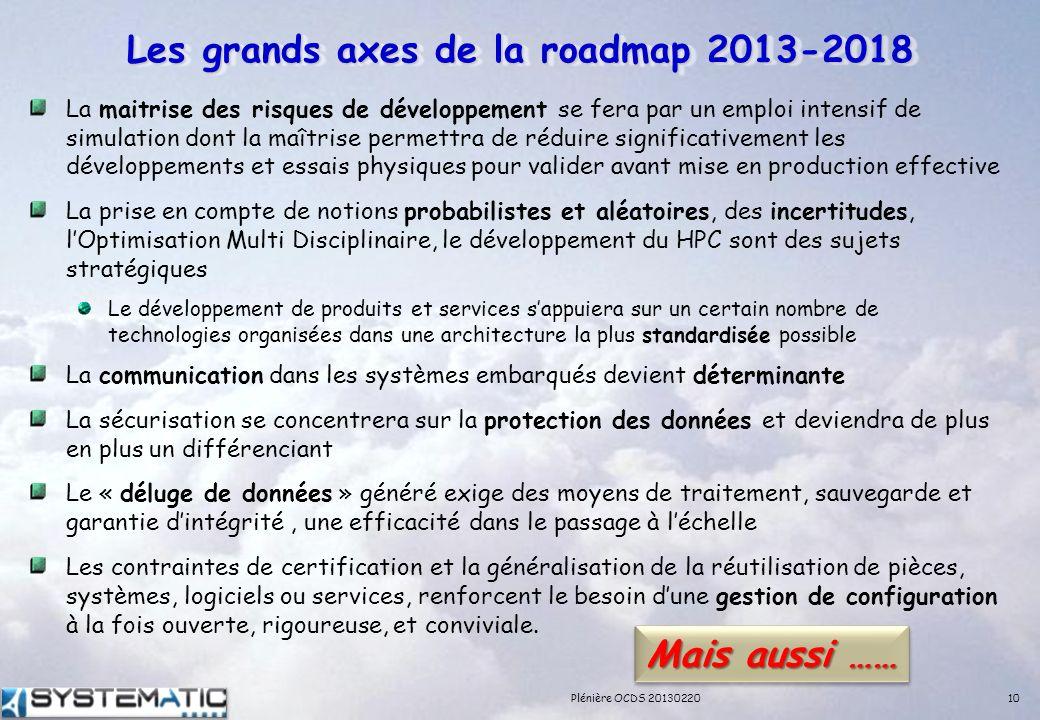 Les grands axes de la roadmap 2013-2018 La maitrise des risques de développement se fera par un emploi intensif de simulation dont la maîtrise permett