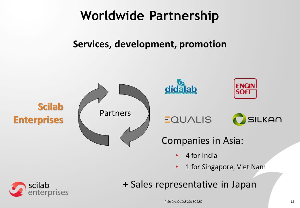 Worldwide Partnership Services, development, promotion Scilab Enterprises Partners Companies in Asia: 4 for India 1 for Singapore, Viet Nam + Sales re