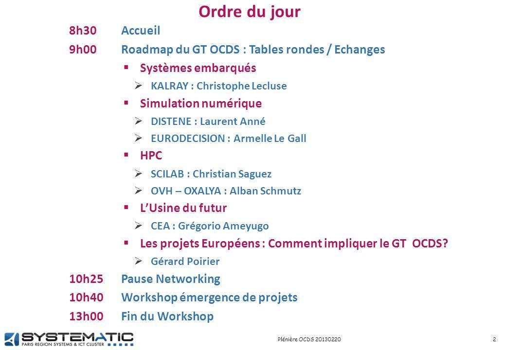 Session workshop 9 Projets 3Plénière OCDS 20130220 STARYNKEVITCH Basile / CEA / Basile.STARYNKEVITCH@cea.frBasile.STARYNKEVITCH@cea.fr Geoffrey ALDEBERT / EDF / geoffrey.aldebert@edf.frgeoffrey.aldebert@edf.fr Philippe Joulaud/ Linobject / pjoulaud@linobject.compjoulaud@linobject.com Laurence Grand-Clément / TERCARA / laurence.grand-clement@m4x.orglaurence.grand-clement@m4x.org Jean-Guy SAYOUS / UVSQ / jean-guy.sayous@uvsq.frjean-guy.sayous@uvsq.fr Benoit RAFINE / DCNS Research / benoit.rafine@dcnsgroup.combenoit.rafine@dcnsgroup.com Thomas Vergnaud / Thales / thomas.vergnaud@thalesgroup.comthomas.vergnaud@thalesgroup.com Agnes Fritsch / Thales / agnes.fritsch@thalesgroup.comagnes.fritsch@thalesgroup.com BelLec Jeremie / Structure Computation / j.bellec@structure-computation.comj.bellec@structure-computation.com