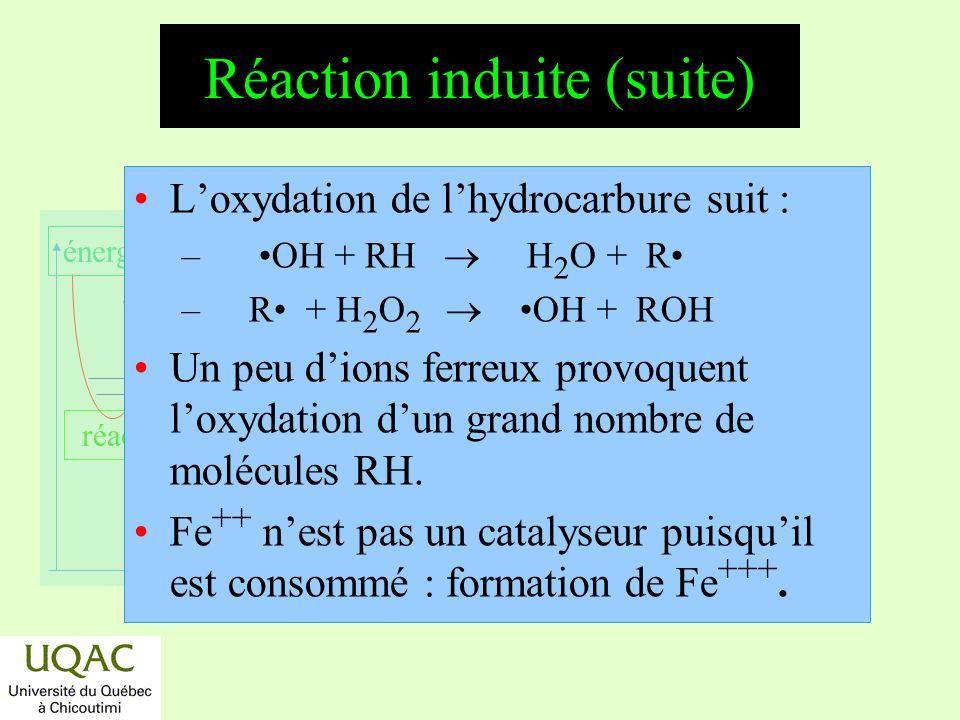 réactifs produits énergie temps Réaction induite (suite) Loxydation de lhydrocarbure suit : – OH + RH H 2 O + R – R + H 2 O 2 OH + ROH Un peu dions fe