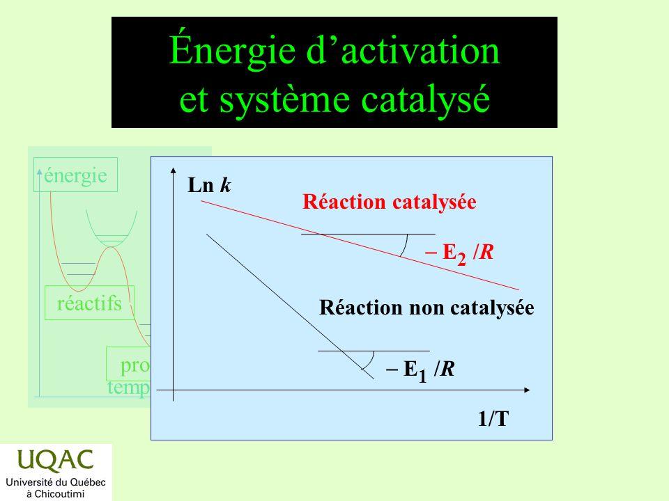réactifs produits énergie temps Énergie dactivation et système catalysé Ln k 1/T Réaction catalysée E 2 /R Réaction non catalysée E 1 /R