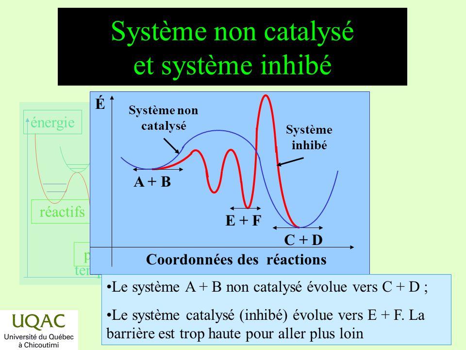 réactifs produits énergie temps Système non catalysé et système inhibé Coordonnées des réactions É E + F Système inhibé C + D A + B Système non cataly