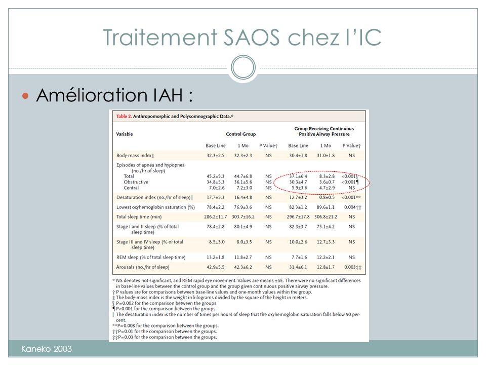 Traitement SAOS chez lIC Amélioration IAH : Kaneko 2003