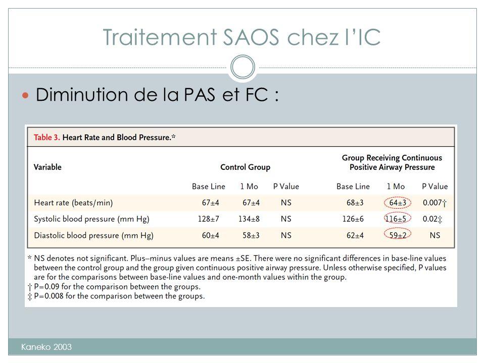 Traitement SAOS chez lIC Diminution de la PAS et FC : Kaneko 2003
