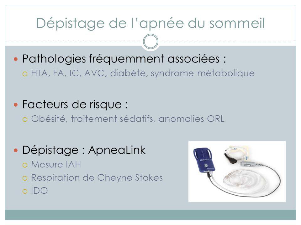 Diagnostic Confirmation du diagnostic : Polygraphie ventilatoire Polysomnographie Sévérité Type