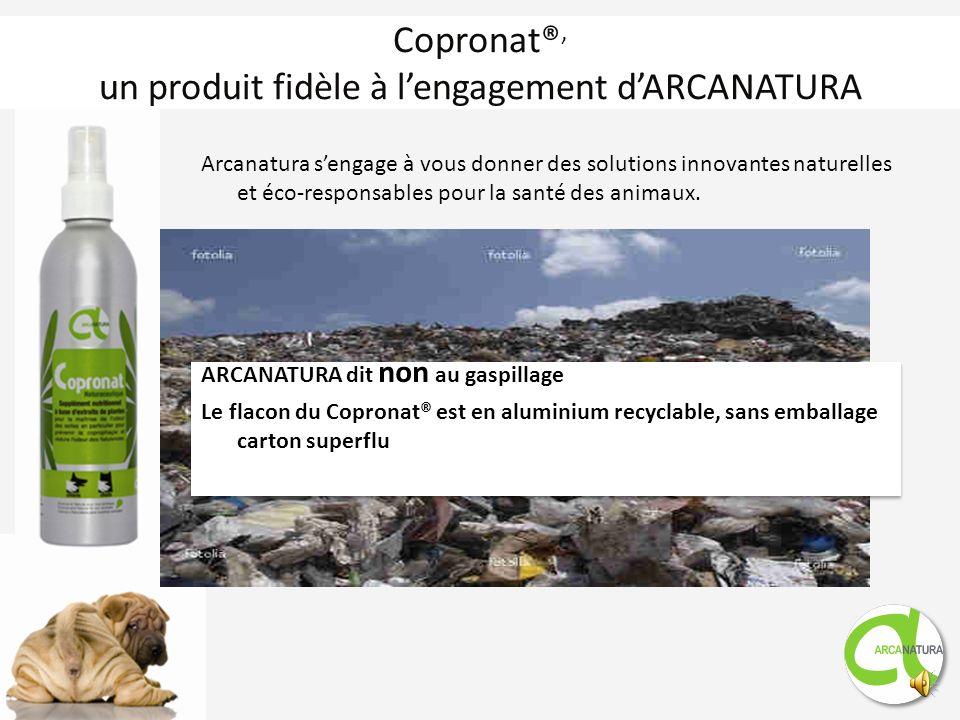 La solution vétérinaire : Copronat® Copronat® est un Spray naturel de 250 ml à base dextraits de Yucca schidigera à vaporiser sur la nourriture. Posol