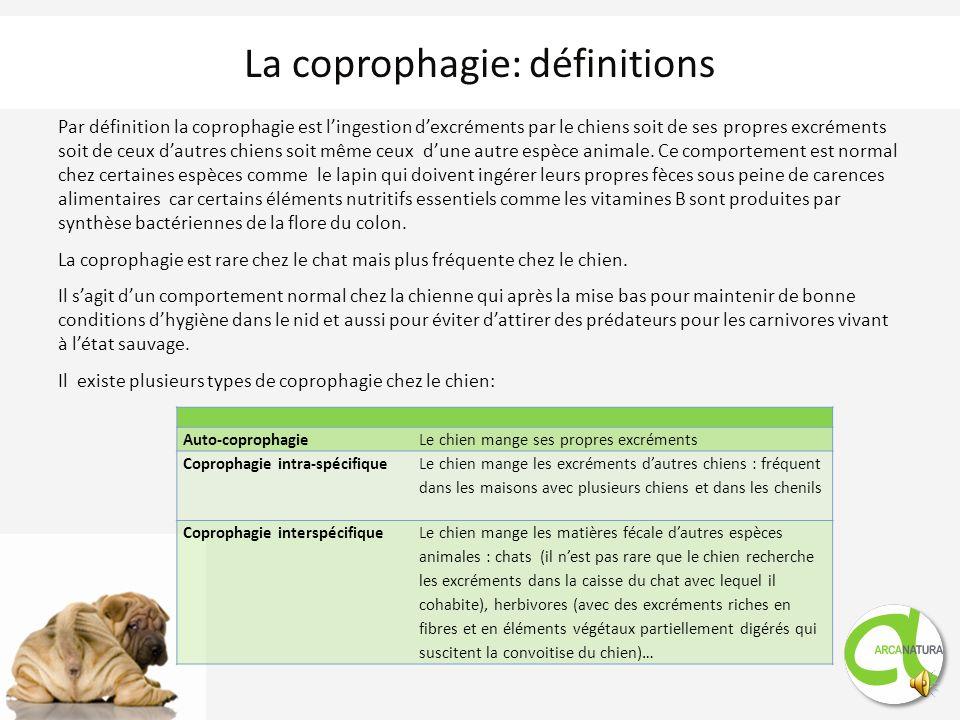 Par définition la coprophagie est lingestion dexcréments par le chiens soit de ses propres excréments soit de ceux dautres chiens soit même ceux dune autre espèce animale.