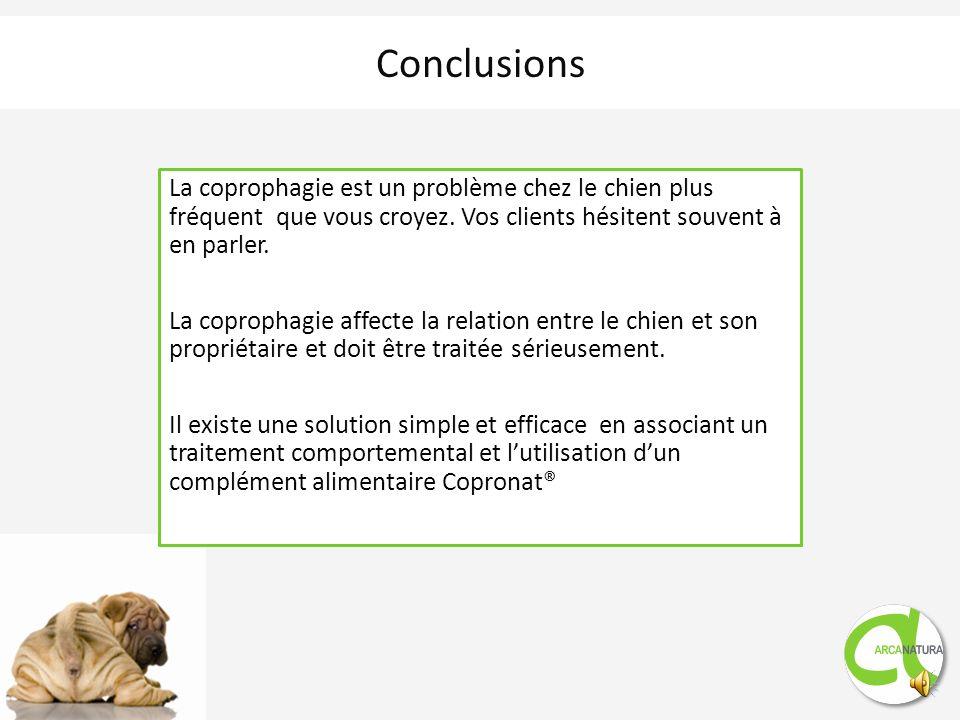 Mode daction pour la coprophagie : modification du caractère aromatique des fèces, le chien perd tout intérêt à les manger Réduction de la production