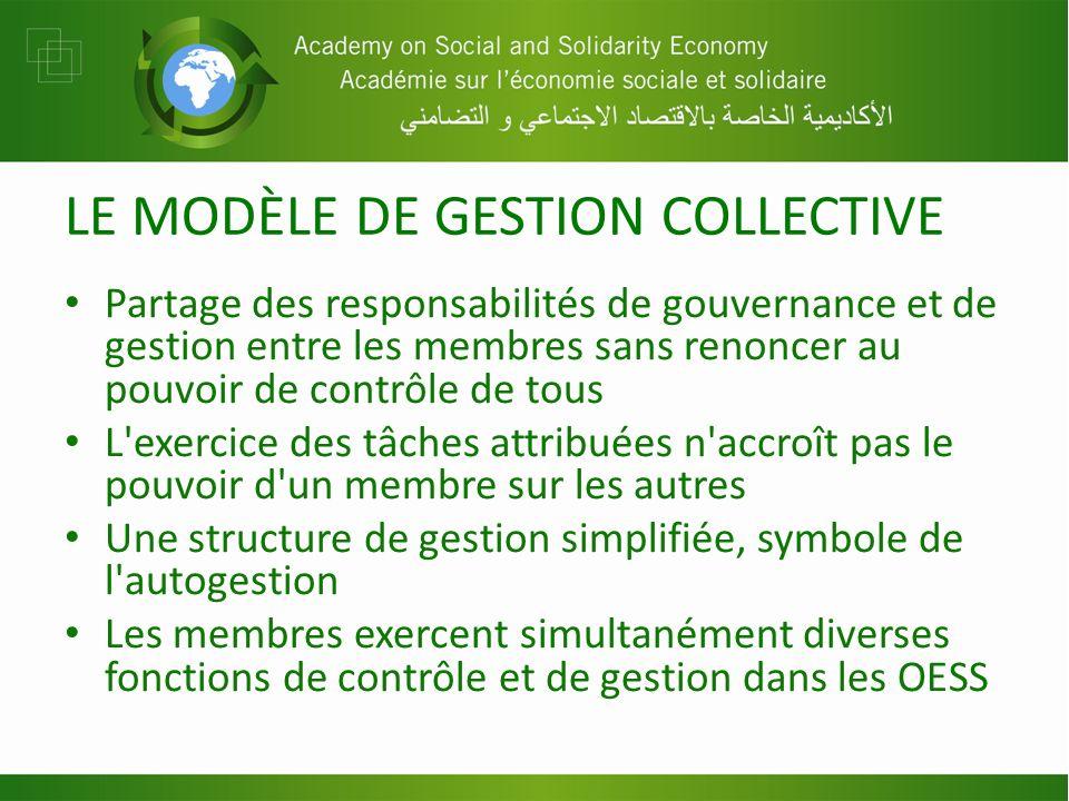 LE MODÈLE DE GESTION COLLECTIVE Partage des responsabilités de gouvernance et de gestion entre les membres sans renoncer au pouvoir de contrôle de tou