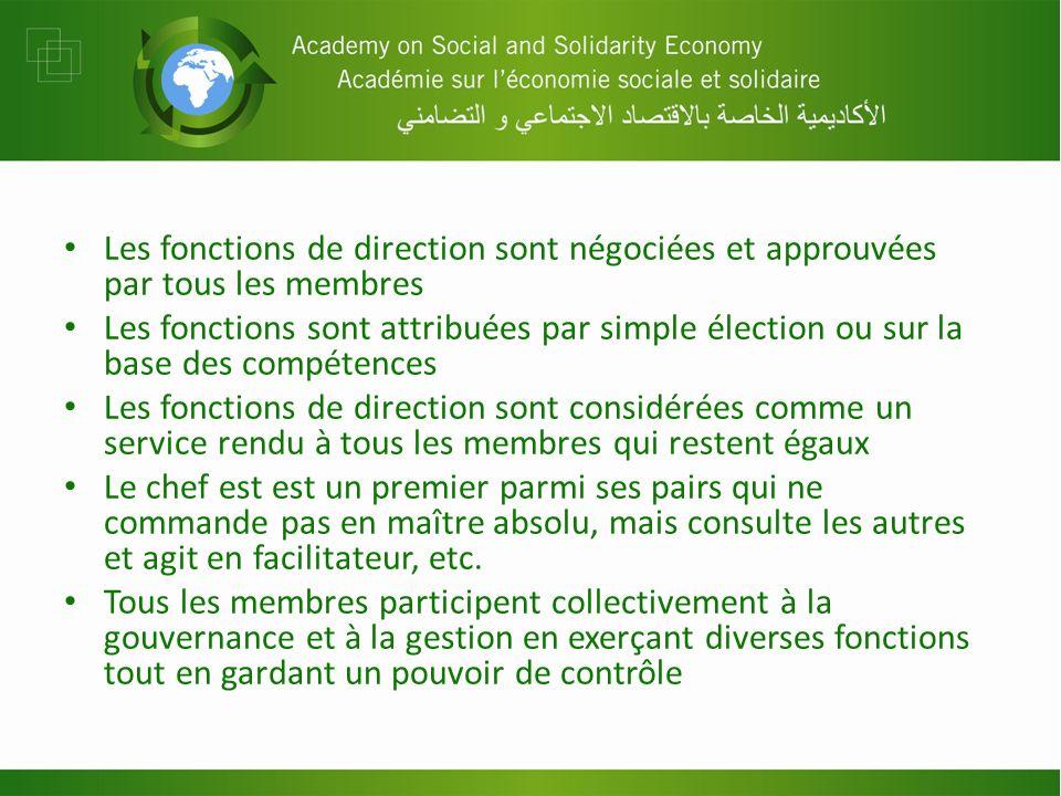 Les fonctions de direction sont négociées et approuvées par tous les membres Les fonctions sont attribuées par simple élection ou sur la base des comp