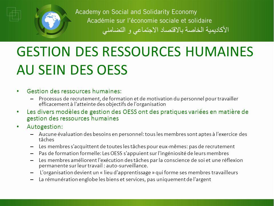 GESTION DES RESSOURCES HUMAINES AU SEIN DES OESS Gestion des ressources humaines: – Processus de recrutement, de formation et de motivation du personn