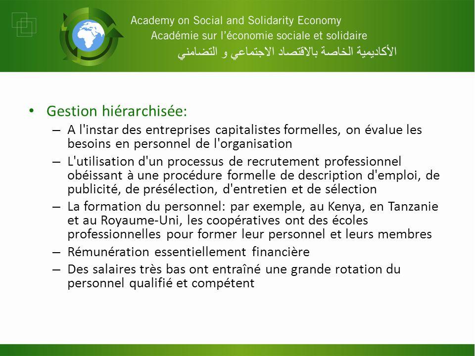 Gestion hiérarchisée: – A l'instar des entreprises capitalistes formelles, on évalue les besoins en personnel de l'organisation – L'utilisation d'un p