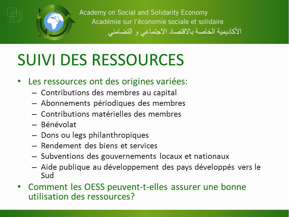 SUIVI DES RESSOURCES Les ressources ont des origines variées: – Contributions des membres au capital – Abonnements périodiques des membres – Contribut