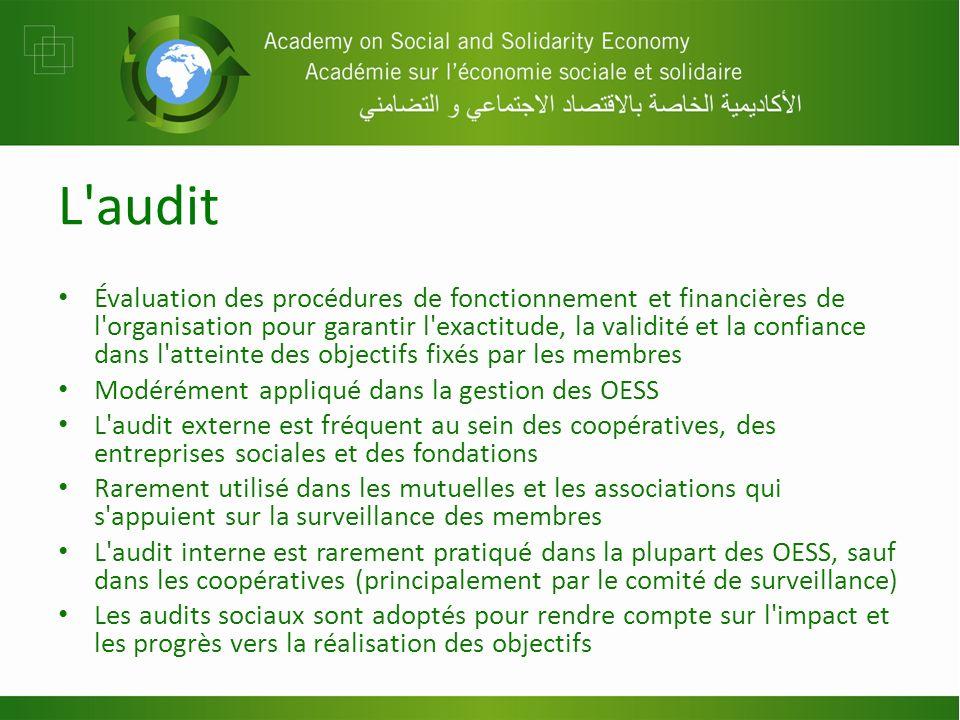 L'audit Évaluation des procédures de fonctionnement et financières de l'organisation pour garantir l'exactitude, la validité et la confiance dans l'at