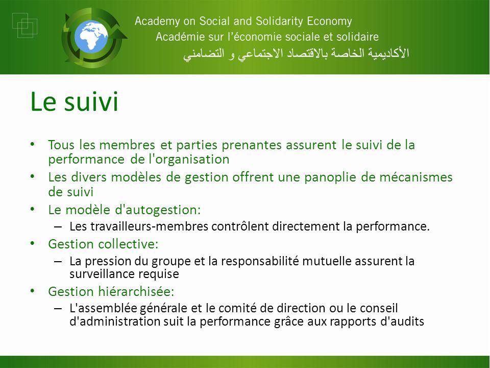 Le suivi Tous les membres et parties prenantes assurent le suivi de la performance de l organisation Les divers modèles de gestion offrent une panoplie de mécanismes de suivi Le modèle d autogestion: – Les travailleurs-membres contrôlent directement la performance.
