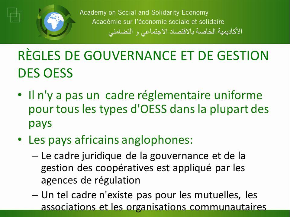 RÈGLES DE GOUVERNANCE ET DE GESTION DES OESS Il n'y a pas un cadre réglementaire uniforme pour tous les types d'OESS dans la plupart des pays Les pays