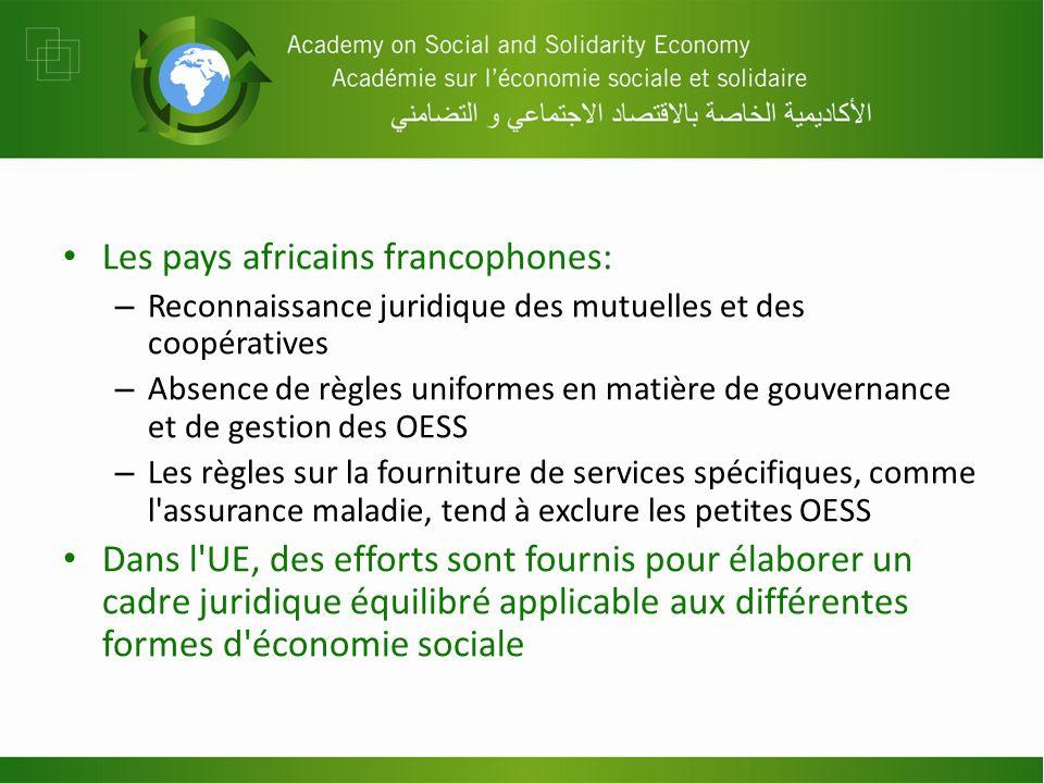 Les pays africains francophones: – Reconnaissance juridique des mutuelles et des coopératives – Absence de règles uniformes en matière de gouvernance