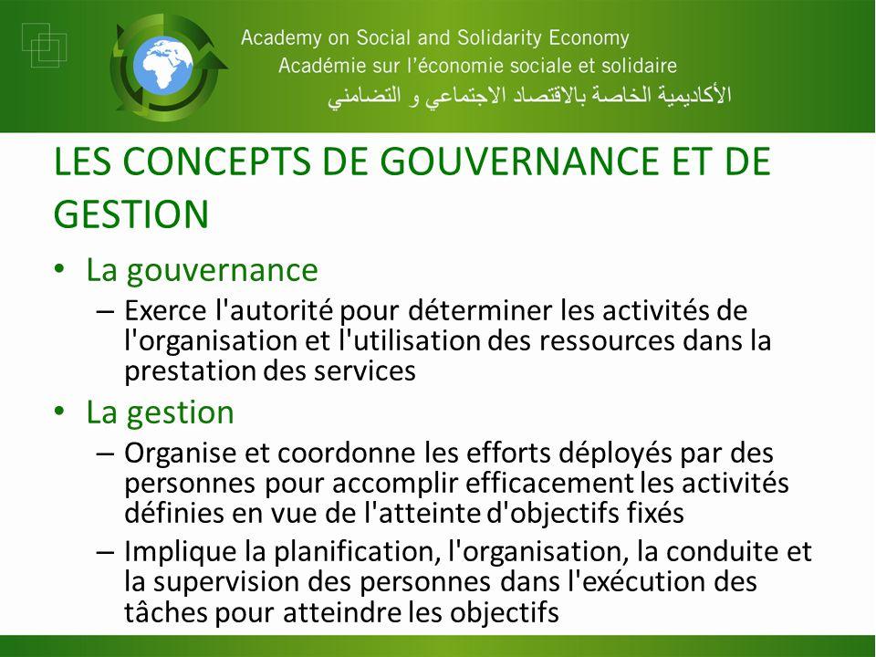 LES CONCEPTS DE GOUVERNANCE ET DE GESTION La gouvernance – Exerce l'autorité pour déterminer les activités de l'organisation et l'utilisation des ress