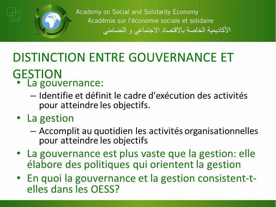 DISTINCTION ENTRE GOUVERNANCE ET GESTION La gouvernance: – Identifie et définit le cadre d'exécution des activités pour atteindre les objectifs. La ge
