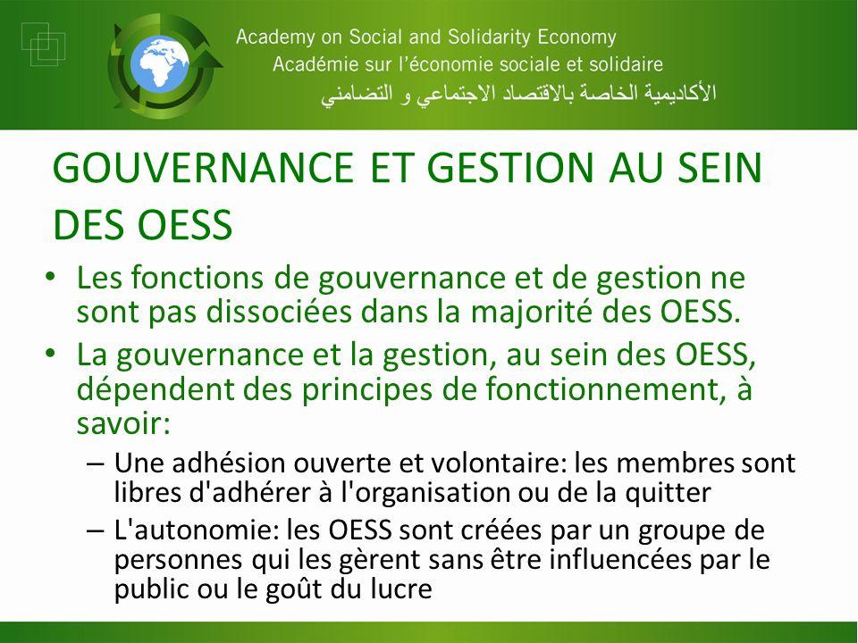 GOUVERNANCE ET GESTION AU SEIN DES OESS Les fonctions de gouvernance et de gestion ne sont pas dissociées dans la majorité des OESS. La gouvernance et