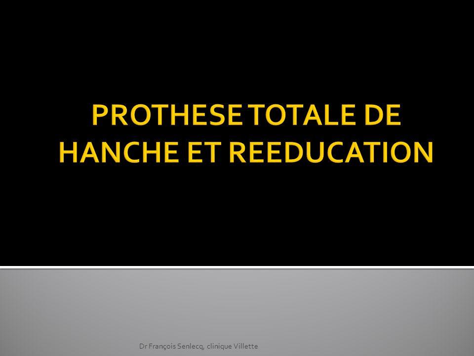 La mise en place dune PTH autorise le retour à une vie active et même sportive La durée de vie dune PTH est longue ( 95 % de survie à 15 ans) La PTH est donc indiquée pour de nombreux patients et de nombreuses pathologies Dr François Senlecq, clinique Villette
