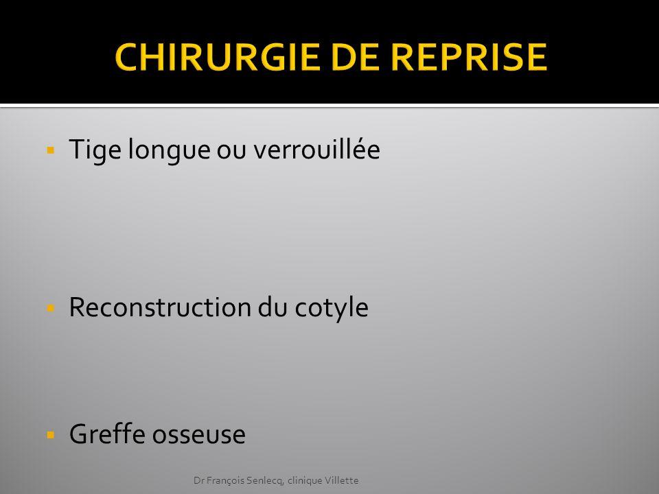 Tige longue ou verrouillée Reconstruction du cotyle Greffe osseuse Dr François Senlecq, clinique Villette