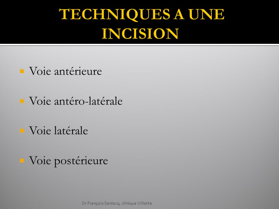 Voie antérieure Voie antéro-latérale Voie latérale Voie postérieure Dr François Senlecq, clinique Villette