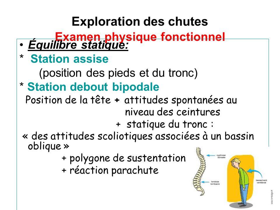 Exploration des chutes Examen physique fonctionnel Équilibre statique: * Station assise (position des pieds et du tronc) * Station debout bipodale Pos