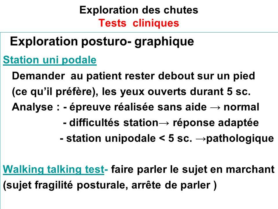 Exploration des chutes Tests cliniques Exploration posturo- graphique Station uni podale Demander au patient rester debout sur un pied (ce quil préfère), les yeux ouverts durant 5 sc.