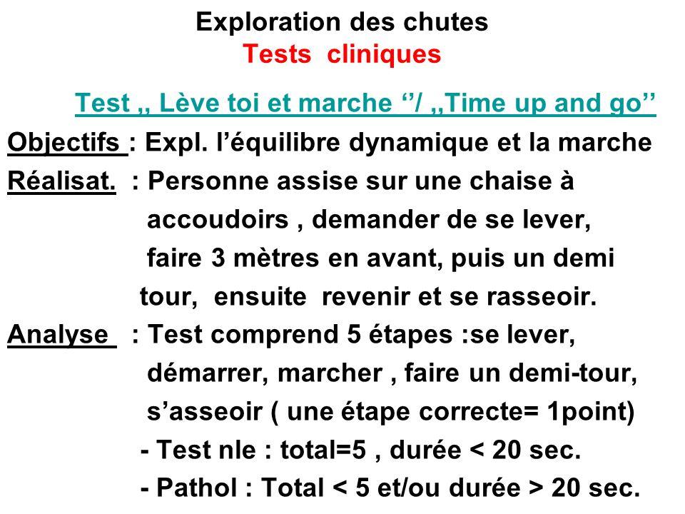 Exploration des chutes Tests cliniques Test,, Lève toi et marche /,,Time up and go Objectifs : Expl. léquilibre dynamique et la marche Réalisat. : Per