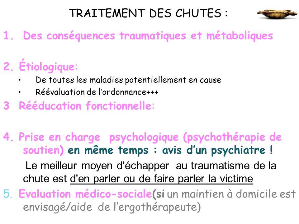 TRAITEMENT DES CHUTES : 1.Des conséquences traumatiques et métaboliques 2. Étiologique: De toutes les maladies potentiellement en cause Réévaluation d