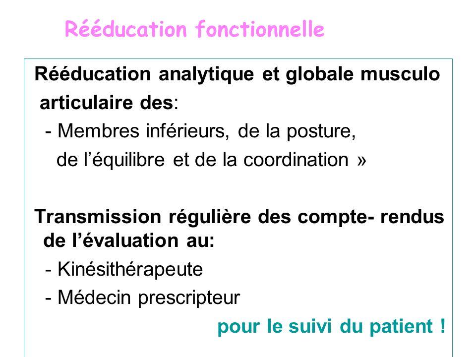 Rééducation analytique et globale musculo articulaire des: - Membres inférieurs, de la posture, de léquilibre et de la coordination » Transmission rég
