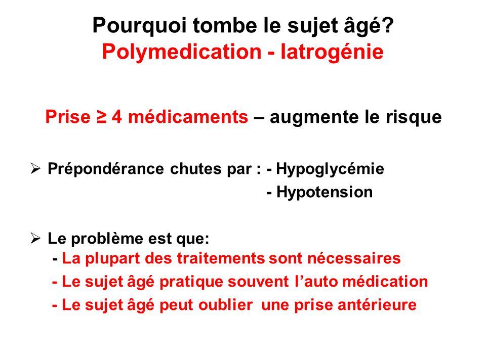 Pourquoi tombe le sujet âgé? Polymedication - Iatrogénie Prise 4 médicaments – augmente le risque Prépondérance chutes par : - Hypoglycémie - Hypotens