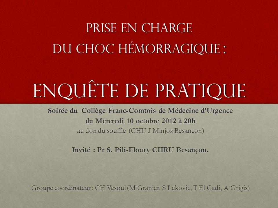 Prise en charge du Choc Hémorragique : Enquête de pratique Soirée du Collège Franc-Comtois de Médecine d'Urgence du Mercredi 10 octobre 2012 à 20h au