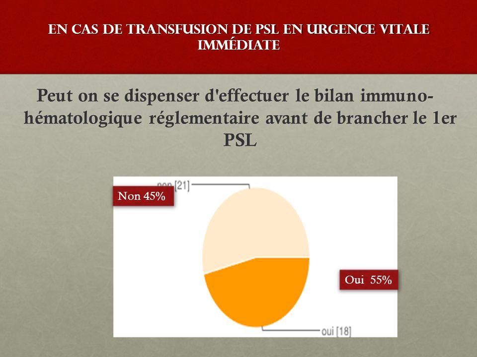 En cas de transfusion de PSL en urgence vitale immédiate Peut on se dispenser d'effectuer le bilan immuno- hématologique réglementaire avant de branch