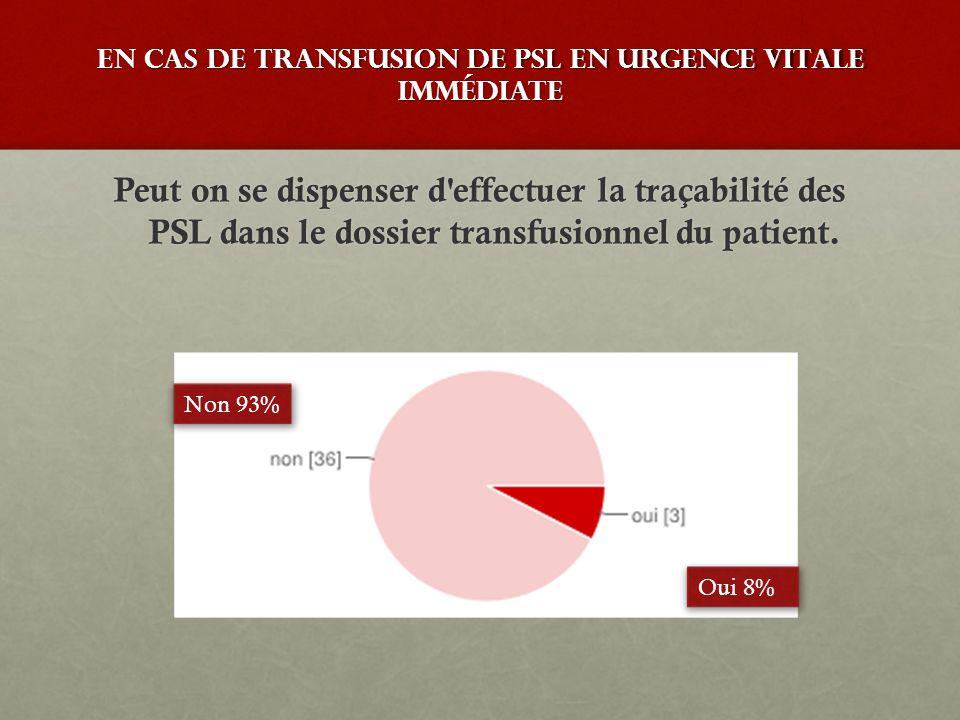En cas de transfusion de PSL en urgence vitale immédiate Peut on se dispenser d'effectuer la traçabilité des PSL dans le dossier transfusionnel du pat